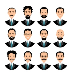 Vintage gentleman portrait set vector