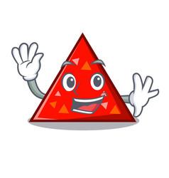 Waving triangel character cartoon style vector