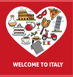 welcome to italy promotional poster with country vector image