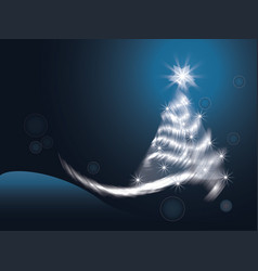 white snow christmas tree background vector image
