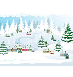 winter christmas snow scene vector image