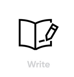 write book read icon editable line vector image