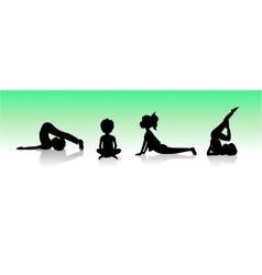 Yoga kids Asanas poses silhouette vector