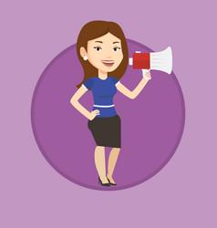 Young woman speaking into megaphone vector