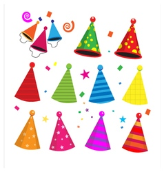 Colorful birthday party hats celebration vector image