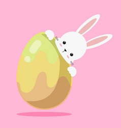 cute white bunny rabbit easter with easter egg vector image vector image