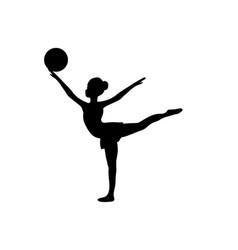 girl gymnastic sport silhouette sportswoman ball vector image vector image
