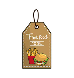 label fast food french fries and burger icon vector image vector image