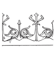 Modern french cresting border is a design found vector