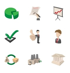 Office icons set cartoon style vector