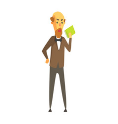 bald bearded man in a jacket and bow tie standing vector image vector image
