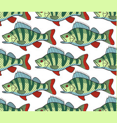 bass fish seamless pattern vector image vector image