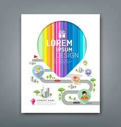 Cover Annual report colorful map pointer create vector image vector image
