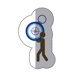 Sticker colorful worker holding up compass of hand vector