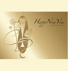 golden happy new year greeting vector image vector image