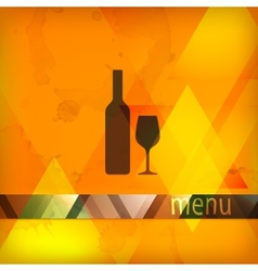 menu design with bottle and wineglass sign vector image