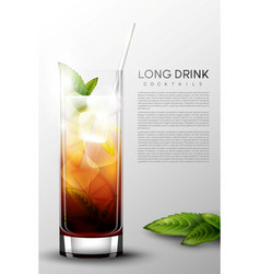 realistic alcohol long drink glass poster vector image