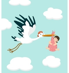 Stork carrying a cute baby girl Newborn baby vector image vector image