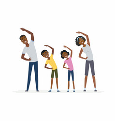 african family doing exercises- cartoon people vector image