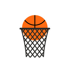 basketball ball in ring emblem sports logo vector image