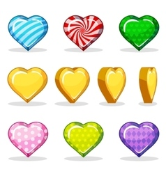 Cartoon colorful glossy heart set game animation vector image