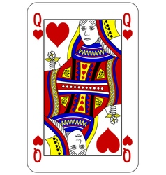 Poker playing card Queen heart vector image