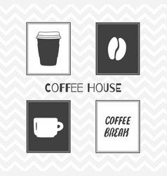 set of hand drawn silhouettes coffee shop posters vector image