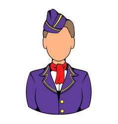 stewardess icon in icon cartoon vector image vector image