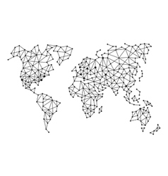 Triangle Polygonal Style World Map on White vector image