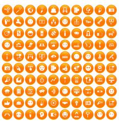 100 social media icons set orange vector