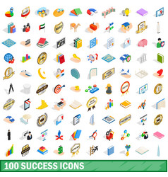 100 success icons set isometric 3d style vector
