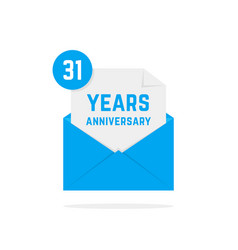 31 years anniversary icon in blue open letter vector image