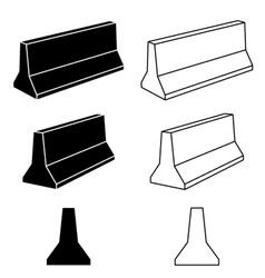 3d concrete road barrier black symbols vector