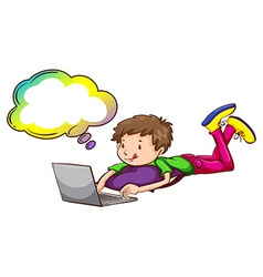 A boy using the laptop with an empty callout vector image