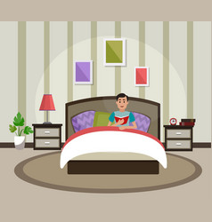 a man is reading a book in bed interior of the vector image