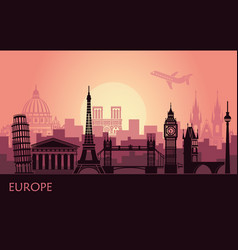 Abstract urban landscape with sights europe vector