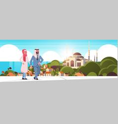 Arabic couple walking outdoor arab man woman vector
