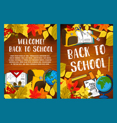Back to school autumn season poster vector