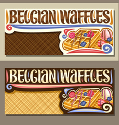 banners for belgian waffles vector image