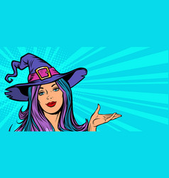 beautiful witch announce halloween party vector image