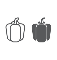 bell pepper line and glyph icon vegetable vector image