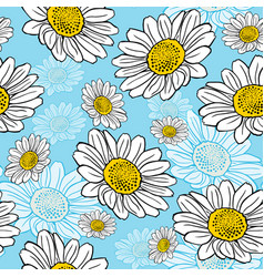 Blossoming white daisies on a blue background vector