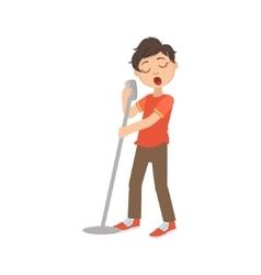 Boy In Red T-shirt Singing In Karaoke vector