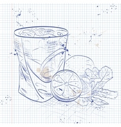 Caipirinha on a notebook page vector