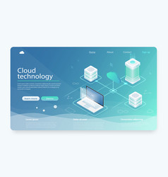 Cloud hosting network isometric concept vector