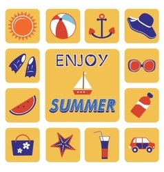 Colorful summer icons collection vector image