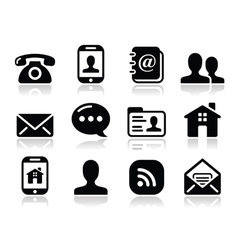 Contact black icons set - mobile user smartphone vector
