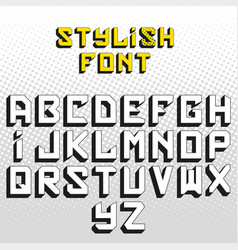 Cool high detail comic font alphabet in style of vector