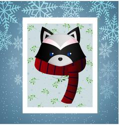 cute raccoon in a scarf vector image