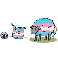 Cute transgender fluffy sheep cartoon vector